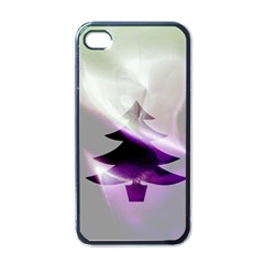 Purple Christmas Tree Apple iPhone 4 Case (Black)