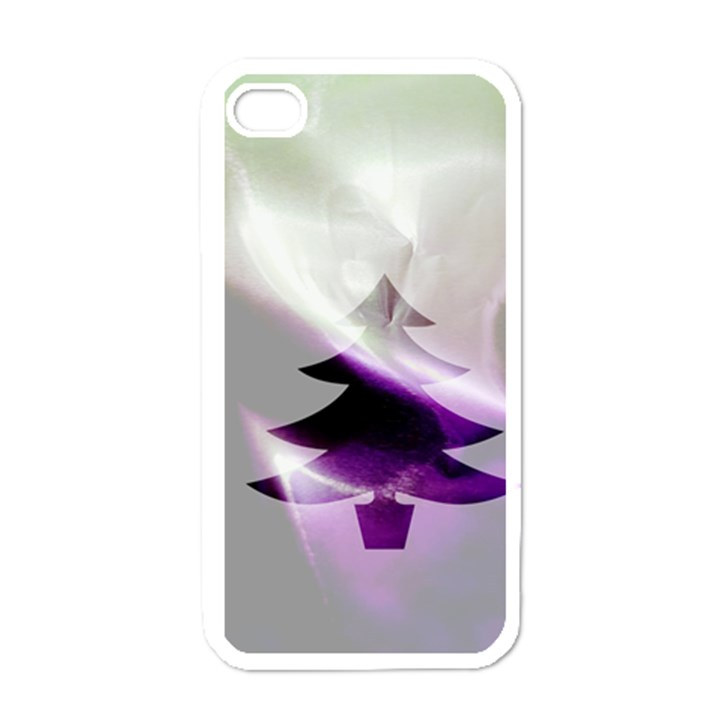 Purple Christmas Tree Apple iPhone 4 Case (White)
