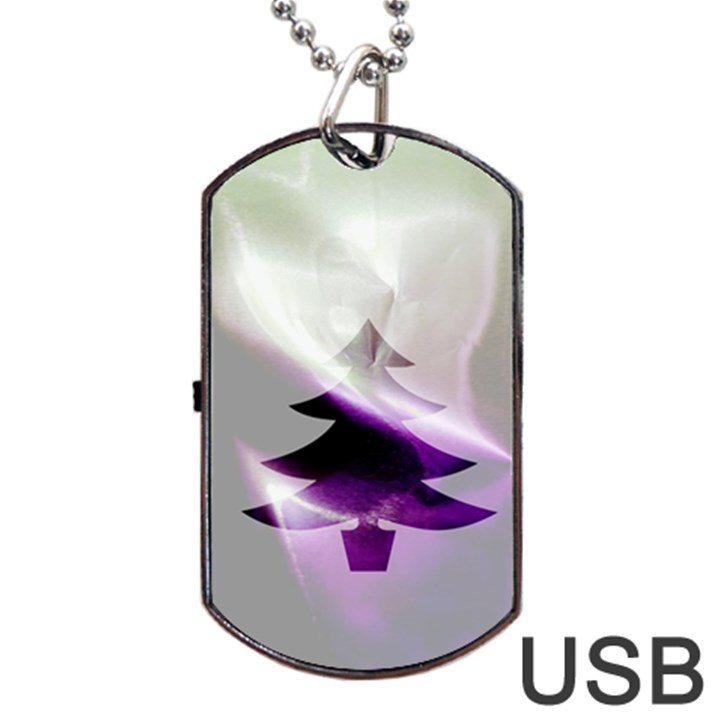 Purple Christmas Tree Dog Tag USB Flash (One Side)