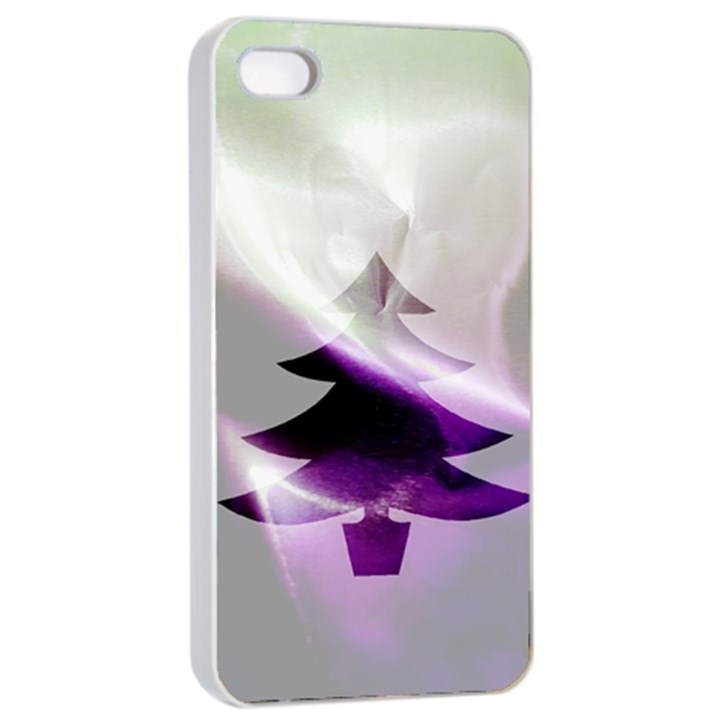 Purple Christmas Tree Apple iPhone 4/4s Seamless Case (White)