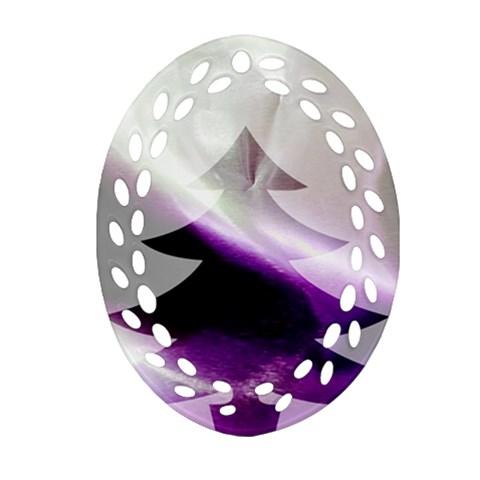 Purple Christmas Tree Oval Filigree Ornament (2-Side)