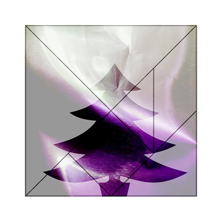 Purple Christmas Tree Acrylic Tangram Puzzle (6  x 6 )