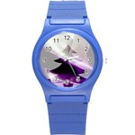 Purple Christmas Tree Round Plastic Sport Watch (S) Front