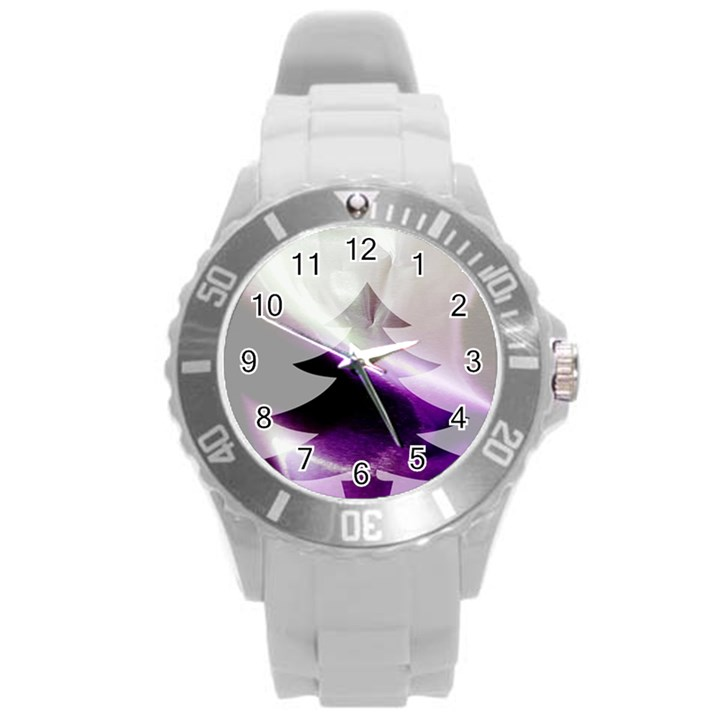 Purple Christmas Tree Round Plastic Sport Watch (L)
