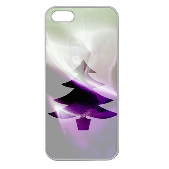 Purple Christmas Tree Apple Seamless iPhone 5 Case (Clear)