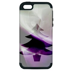 Purple Christmas Tree Apple Iphone 5 Hardshell Case (pc+silicone)
