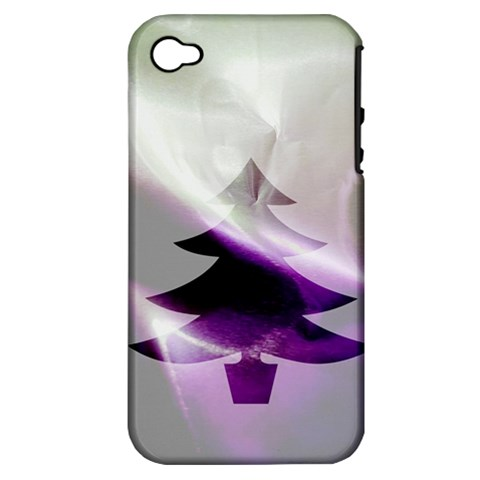 Purple Christmas Tree Apple iPhone 4/4S Hardshell Case (PC+Silicone)