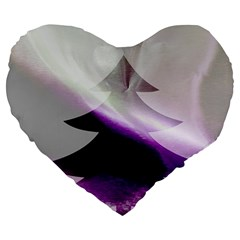 Purple Christmas Tree Large 19  Premium Heart Shape Cushions