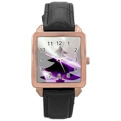 Purple Christmas Tree Rose Gold Leather Watch