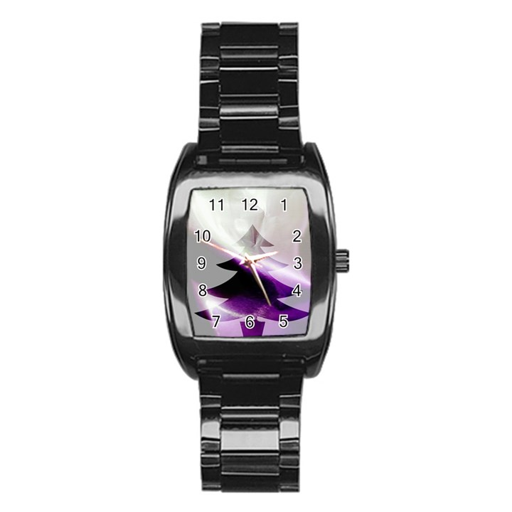 Purple Christmas Tree Stainless Steel Barrel Watch