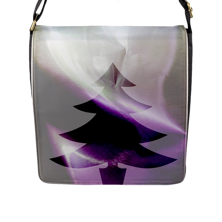 Purple Christmas Tree Flap Messenger Bag (L)