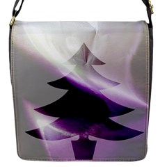 Purple Christmas Tree Flap Messenger Bag (s)