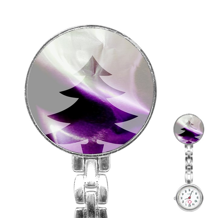 Purple Christmas Tree Stainless Steel Nurses Watch
