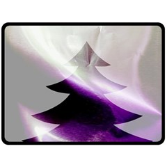 Purple Christmas Tree Double Sided Fleece Blanket (Large)