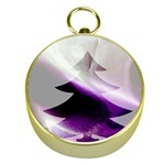 Purple Christmas Tree Gold Compasses Front