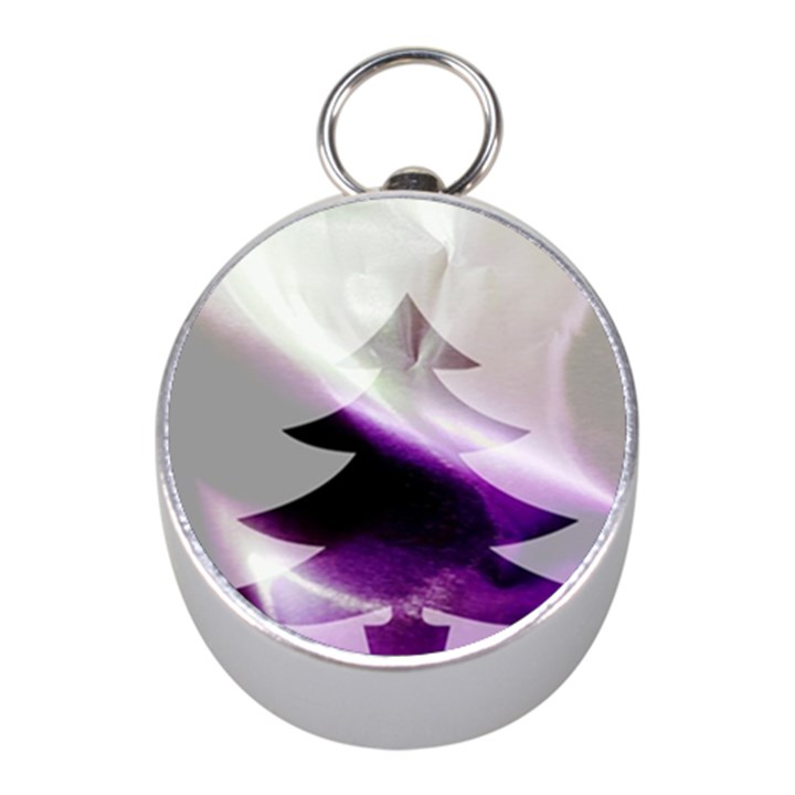 Purple Christmas Tree Mini Silver Compasses
