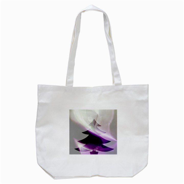 Purple Christmas Tree Tote Bag (White)