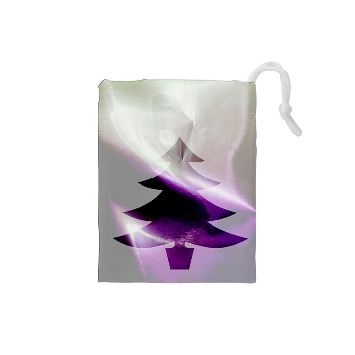Purple Christmas Tree Drawstring Pouches (Small)