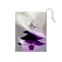 Purple Christmas Tree Drawstring Pouches (Medium)