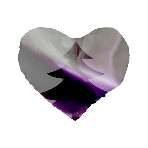 Purple Christmas Tree Standard 16  Premium Flano Heart Shape Cushions