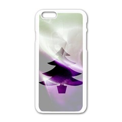 Purple Christmas Tree Apple Iphone 6/6s White Enamel Case
