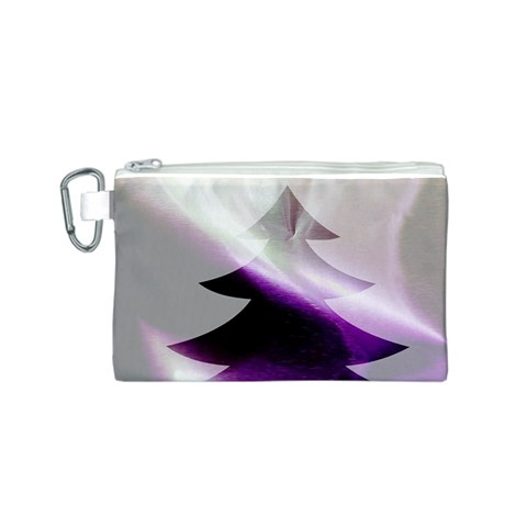 Purple Christmas Tree Canvas Cosmetic Bag (S)