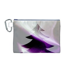 Purple Christmas Tree Canvas Cosmetic Bag (M)