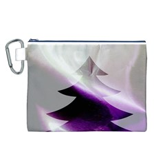 Purple Christmas Tree Canvas Cosmetic Bag (L)