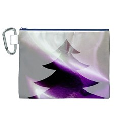 Purple Christmas Tree Canvas Cosmetic Bag (XL)
