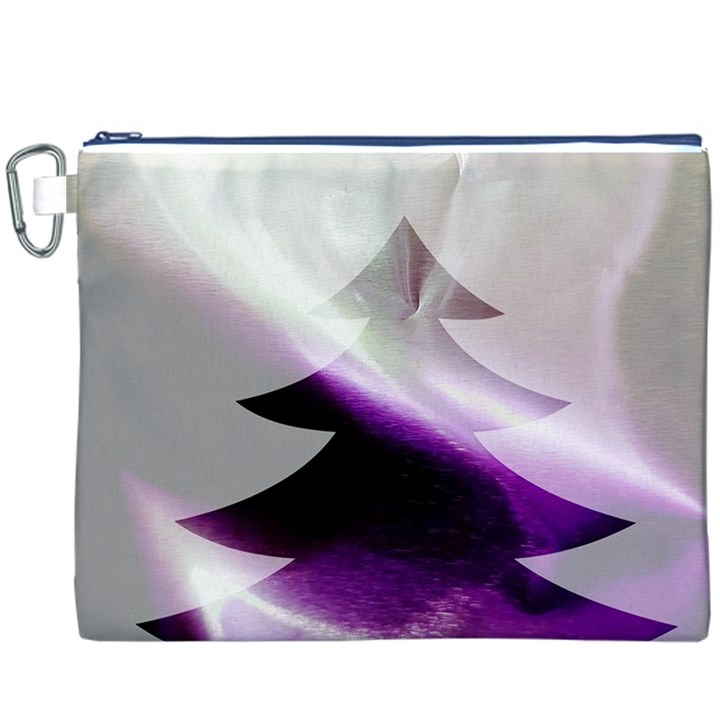 Purple Christmas Tree Canvas Cosmetic Bag (XXXL)