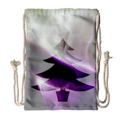 Purple Christmas Tree Drawstring Bag (Large)