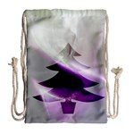 Purple Christmas Tree Drawstring Bag (Large) Back