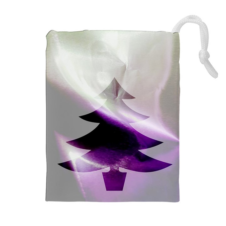 Purple Christmas Tree Drawstring Pouches (Extra Large)