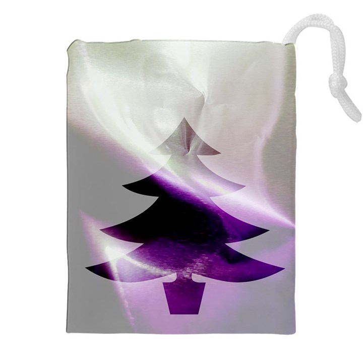 Purple Christmas Tree Drawstring Pouches (XXL)