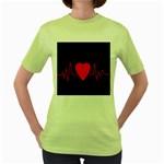 Hart bit Women s Green T-Shirt Front