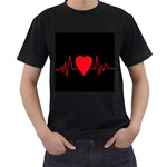 Hart bit Men s T-Shirt (Black) (Two Sided) Front