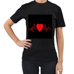 Hart bit Women s T-Shirt (Black) (Two Sided) Front