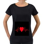 Hart bit Women s Loose-Fit T-Shirt (Black) Front