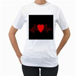 Hart bit Women s T-Shirt (White) (Two Sided) Front
