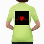 Hart bit Women s Green T-Shirt Back