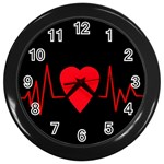 Hart bit Wall Clocks (Black) Front
