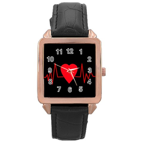 Hart bit Rose Gold Leather Watch