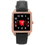 Hart bit Rose Gold Leather Watch  Front