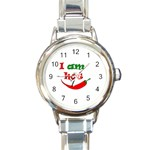 I am hot  Round Italian Charm Watch Front