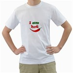 I am hot  Men s T-Shirt (White) (Two Sided) Front