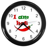 I am hot  Wall Clocks (Black) Front