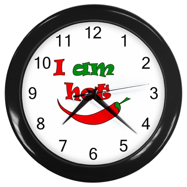 I am hot  Wall Clocks (Black)