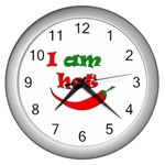 I am hot  Wall Clocks (Silver)  Front