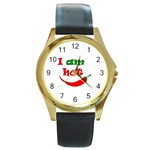 I am hot  Round Gold Metal Watch Front