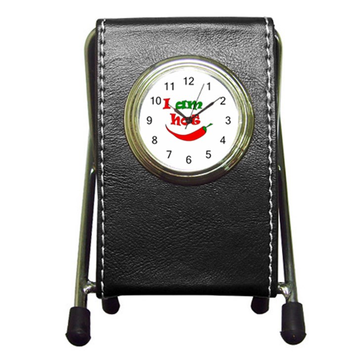 I am hot  Pen Holder Desk Clocks